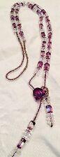 "Vtg Crystal Bead Facet Cut Purple Square W/ Triple Flat Clear Spacers 17""drop"