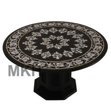 """36"""" Black Marble Table Top Dining Table Inlaid Marquetry Home Decor Mid Century"""