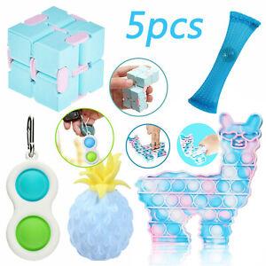 5 Pack Stress Relief Kids Adult US Fidget Toy Set Popit Push Bubble Sensory Toys