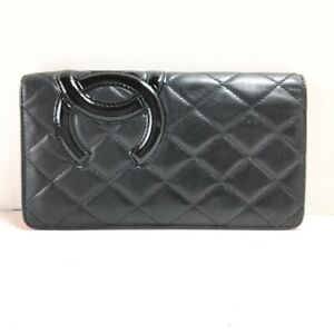 Auth CHANEL Cambon Line Matelasse Black Pink Patent Leather Long Wallet