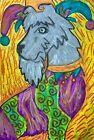 MINIATURE SCHNAUZER Jester Pop Folk Art Print 8x10 Dog Collectible Signed Artist