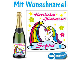 Flaschen Aufkleber Einhorn  mit Wunschname Herzlichen... Geburtstag  Sektflasche