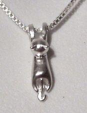 SILVER TINY CAT NECKLACE pendant/charm chain kitten kitty kawaii neko N4
