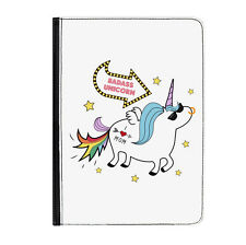 "Badass Unicorn Funny Animal Rainbow Universal Tablet 7"" Leather Flip Case Cover"
