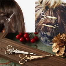 Scissor Hair Clip Pin Hairdresser Head Jewelry Accessory Gold Silver Shears Gift