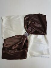 """Cream / Chocolate 18""""x18"""" Bo-Tie Faux Silk CUSHION COVERS"""