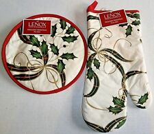 LENOX HOLIDAY OVEN MITT AND POT MITT 100& Cotton
