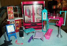 Barbie Pink Wardrobe Closet 2015 & Other Barbie Furniture Pieces Lot