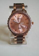 Brown/Rose Gold Finish Inspired Style Geneva Bracelet Fashion Boyfriend Watch