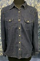 GAP 1969 M Medium Classic Western Indigo Rinse Denim LS Shirt Cotton Silk Snap