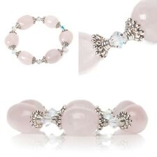 Chunky Natural Rose Quartz Beaded Bracelet with 925 Silver & Swarovski Elements