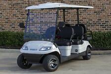 New 2021 White / Black Advanced EV 48V Electric Golf Cart 6 Passenger Limo