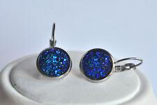 Edelstahl Ohrhänger Ohrringe mit Druse blau lila irisierend 12 mm