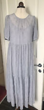 Zara Emboidered Floaty Smock Dress Puff Sleeves Size Small Lavender Soft Grey
