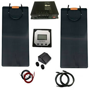 200W 2x100W flexible solar panel kit 20A charger controller motorhome boat ETFE