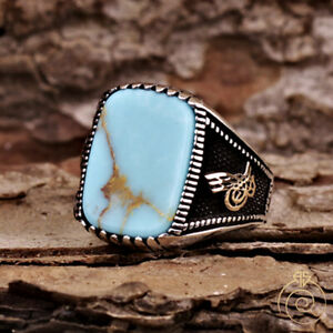 Vintage Turquoise Ring Custom Sign Engagement Jewelry For Men Blue Stone Navajo