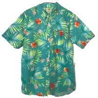 Vans Tailored Fit Mens Hawaiian Shirt Blue Short Sleeve Aloha Button Down M