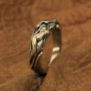 LINSION High Detail Brass Sexy Naked Beauty Skull Ring Mens Ring Rocker BR185A