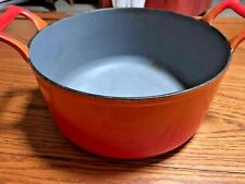 Descoware Cast Iron Enamel Dutch Oven Pot 5-A 10 24 B FE Orange/Red Belgium Vntg