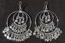 Quirky Boho Gypsy Bellydancer Style Silver plated Star Fringe Hoop Earrings
