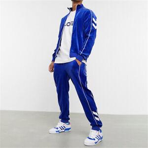 Mens Velvet Tracksuit 2 Piece Casual Pant Jacket Sweatsuit Sport Sweatshirt Set