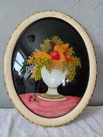 Vintage Oval Bubble Convex Picture Frame w/ Reverse Painted Glass Fruit in Vase
