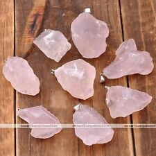 Natural Rose Quartz Crystal Healing Point Chakra Irregular Pendant For Necklace