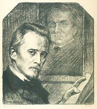 Hugo Wolf-effigie con Eduard Moerike-Karl Bauer-LITOGRAFICO 1905