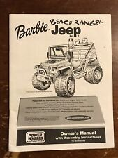 Original Owner's Manual for Power Wheels Barbie Beach Ranger Jeep 4x4 Ride-On