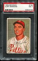 1952 Bowman Baseball #184 CURT SIMMONS Philadelphia Phillies  PSA 7 NM
