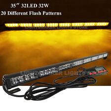 """35"""" 32 LED AMBER FLASH WRECKER TRAFFIC ADVISOR EMERGENCY WARN STROBE LIGHT BAR"""