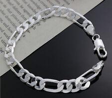 Cute Unisex Figaro Bracelet 8Mm Promotion 925 Sterling Silver plating Jewelry