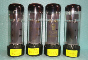 4 X EL34 , 6CA7 VINTAGE RFT USED VERY STRONG mid 1960's MADE IN GERMANY