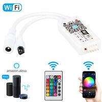 Mini Wifi Wireless Controller+ 24-Key IR Remote For 5050 RGB LED Strip Light New