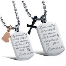 Partner Anhänger Kristall Herz Kreuz Freundschaftskette Edelstahl Paar Halskette