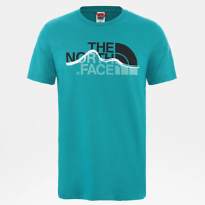 Mens The North Face Mountain Line Tee T-Shirt Fanfare Green NF00A3G2H1H