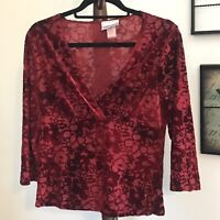 Fashion Bug Women's Medium Maroon Floral Print 3/4 Sleeve V Neck Top EUC
