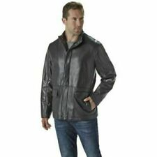 NEW Nuvano Men's Big And Tall Lambskin Leather Jacket - Black - Size: 3X Large