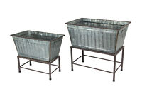 Zeckos Set of 2 Galvanized Zinc Finish Metal Tub Planters On Stands