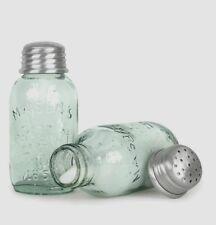 Mason Jar Salt & Pepper Shakers Pale Green Glass Vintage Style Repro Farmhouse