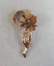 Vintage Flower Brooch with Turquoise 18K Yellow Gold