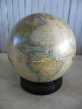 "Vtg ART DECO Rand McNally Indexed Terrestrial  12"" Globe on black glass base"