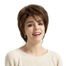 100% Human Hair Short Straight Brown Layered Full Hair Wig For women Heat OK