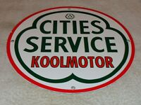 "VINTAGE CITIES SERVICE KOOLMOTOR GASOLINE 11 3/4"" PORCELAIN METAL GAS & OIL SIGN"