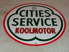 """VINTAGE CITIES SERVICE KOOLMOTOR GASOLINE 11 3/4"""" PORCELAIN METAL GAS & OIL SIGN"""