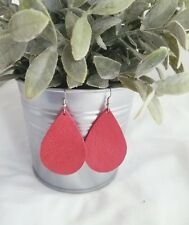 "Cherry Tomato / Leather Earrings / FREE SHIPPING / Teardrop / Med / 2.25"" x 1.5"""