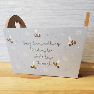 New Grey Wooden Bee Reading Book Storage Box Shabby Chic Bedroom Hearts Decor