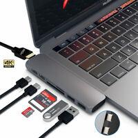 7in1 Dual USB C Hub USB 3.1 Adapter Dock SD Card Reader 4K HDMI For MacBook Pro
