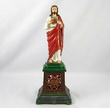 ANTIQUE/VINTAGE JESUS CHRIST SACRED HEART PAINTED METAL STATUE CATHOLIC