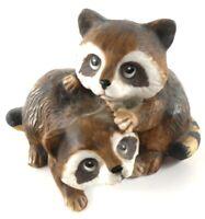 Homco Raccoons Figurine 2 Baby Babies #1454 Vintage Made in Taiwan Home Decor